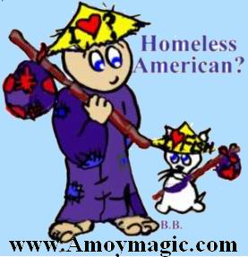 Cartoon Homeless American in China