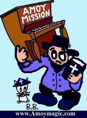 cartoon of amoy mission missionary carrying piano on gulangyu