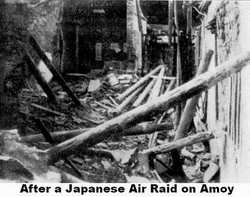 The aftermath of a Japanese Air Raid on Amoy about 1937