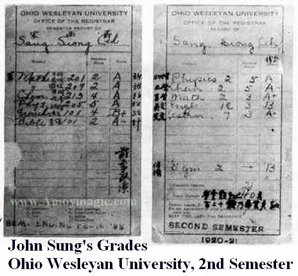 John Sung's second semester grades at Ohio Wesleyan University