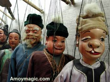 Quanzhou puppets / marionettes, on display in the Quanzhou marionette troupe's hall.