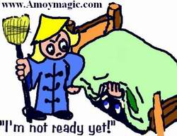 "Ancient Chinese joke about henpecked Han Chinese husbands.  ""I'll com e out from under the bed when I'm good and ready!"